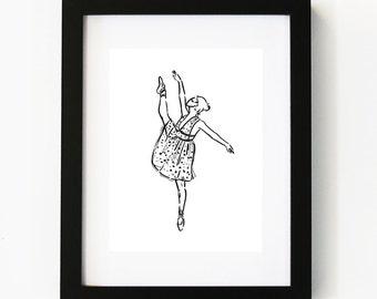 Ballerina in Valentino, Ballerina, Illustration Art Print, Room decor, Gifts For Her, Wall Art, Poster