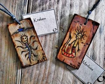 Kraken-Medusa;-handmade wooden pendants,wooden necklace,wooden pendant,mythology pendant,funny pendant,pyrography,wooden jewelry,handmade