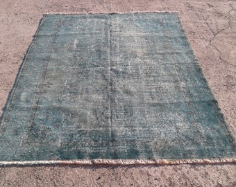 Big sale %50 off Vintage overdyed rug,cotton and wool rug,tribal overdyed rug  5,8x7,8 feet