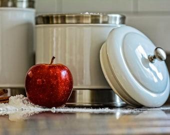 kitchen photography, apple, red apple, baking photography, flour, home decor, wall art, wall decor, kitchen art