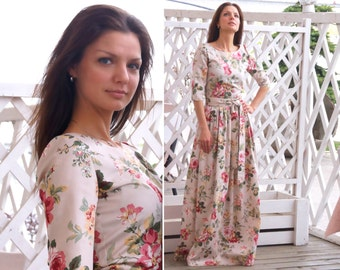 Dress Vintage roses - long dress with sleeves