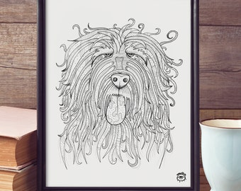 Catalan Sheepdog A4 A5 illustration, print, art, dog print, dog drawing, catalan sheepdog illustration, catalan sheepdog drawing