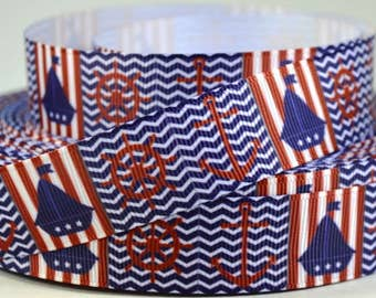 "7/8"" Anchor, Ships Wheel, Boat, Chevron Printed Grosgrain Ribbon"