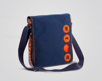 Cordura pouch with Holearound and genuine leather-100% Made in Italy-blue/orange