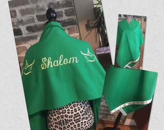 Green Embroidered Transitional Shawl (Prayer Shawl)