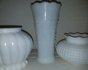 Three antique  milk glass vases