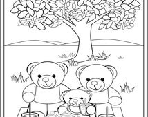 Fun Teddy Bear Picnic Colouring Page for Kids. Printable Teddy Bear Picture to Download,  Print and Colour.
