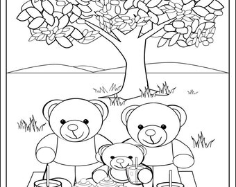 fun teddy bear picnic colouring page for kids print and colour printable art to - Teddy Bear Picnic Coloring Pages