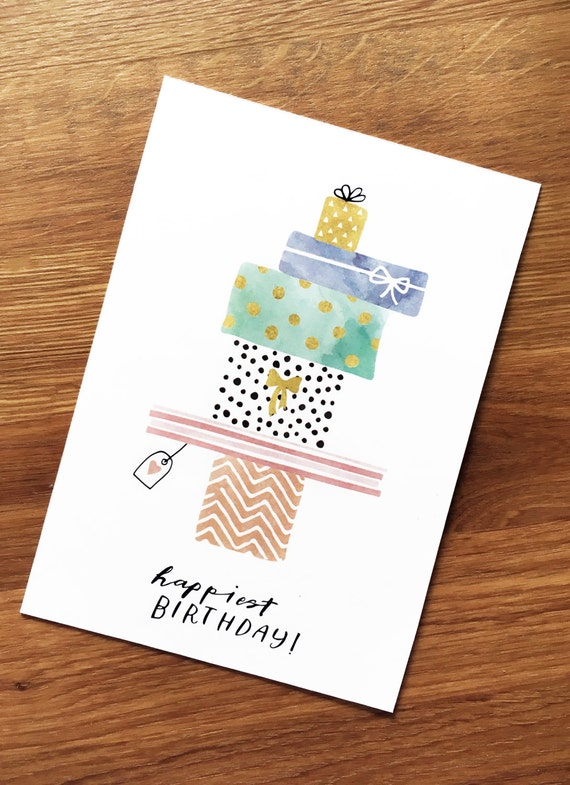 "Postcard, happiest birthday""birthday gifts, presents, fabric mix"