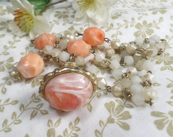 Vintage Gold Tone Glass and Lucite Beaded Necklace  DL#21
