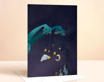 The Night Puppeteer Card | Birthday Card | Kids Birthday | Nursery Art | Greeting Card | Childrens Art | Childrens Card | Night Illustration