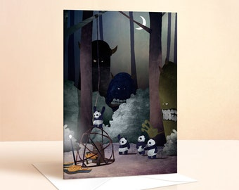 Catching The Pie Monster Card | Birthday Card | Kids Birthday | Greeting Card | Panda Card | Art Card | Panda Birthday Card | Forest Nursery