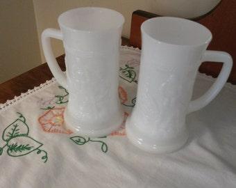 Federal milk glass steins beer mugs, Federal tankards, white glass steins  -  B4