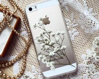 Vraies fleurs floral blanc SE pare-chocs • résine floral pare-chocs cas iPhone 6 cas iPhone 7 Plus • gypsophile fleur cas   Gypsophyla