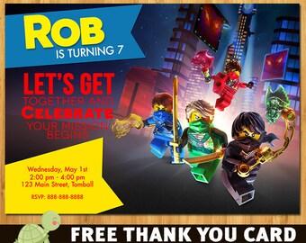 Lego Ninjago Invitation, Lego Ninjago invite- Lego Ninjago invitation- free thank you card