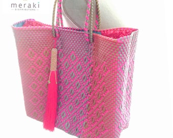 Beach bag-pink tote-bohemian bag-tassel-large tote