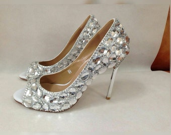 women's wedding heels|customized|diamond|High heels|shoes
