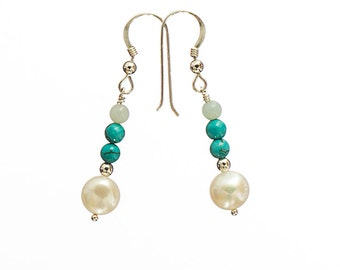 Turquoise, amazonite and freshwater pearl drop earrings E167