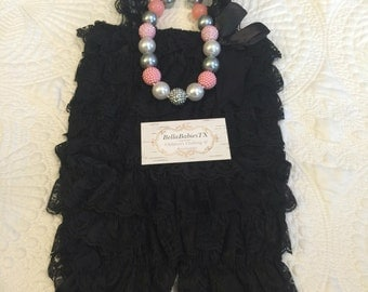Baby girl ruffle onesie photo outfit necklace