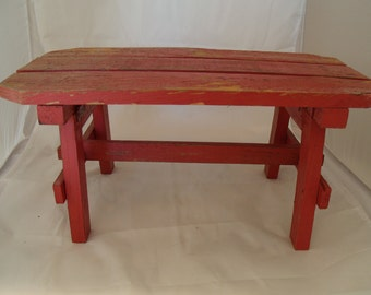Red Folding Wooden Bench/Stool - Small  (168)