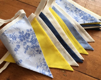 Blue Floral and Yellow Bunting, Great for wedding, home deco, or any occasion, bright and beautifully made.