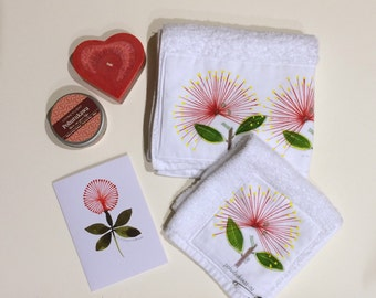 Hand-painted guest towel and face cloth