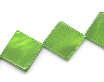 """5 Green mother of Pearl button """"Square"""" - 26 * 26 mm - / P1-0122"""