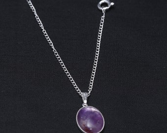 Sterling Silver Necklace with 14x10 Amethyst Gemstone