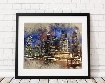 Singapore Watercolor Print - Singapore Skyline Painting - Singapore Watercolor Painting- Singapore Painting - Art Print - Cityscape Wall Art