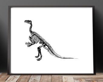 Dinosaur Fossil Art Print Dinosaur Art Dinosaur Print Dinosaur Bones Art Fossil Art Minimalist Art Office Decor Boys Room Decor Science Gift