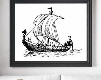 Ship Print, Ship Art, Viking Ship Print, Sailboat Decor, Sailboat Painting, Sailboat Art, Boat Art, Boat Print, Nautical Art, Nautical Gifts