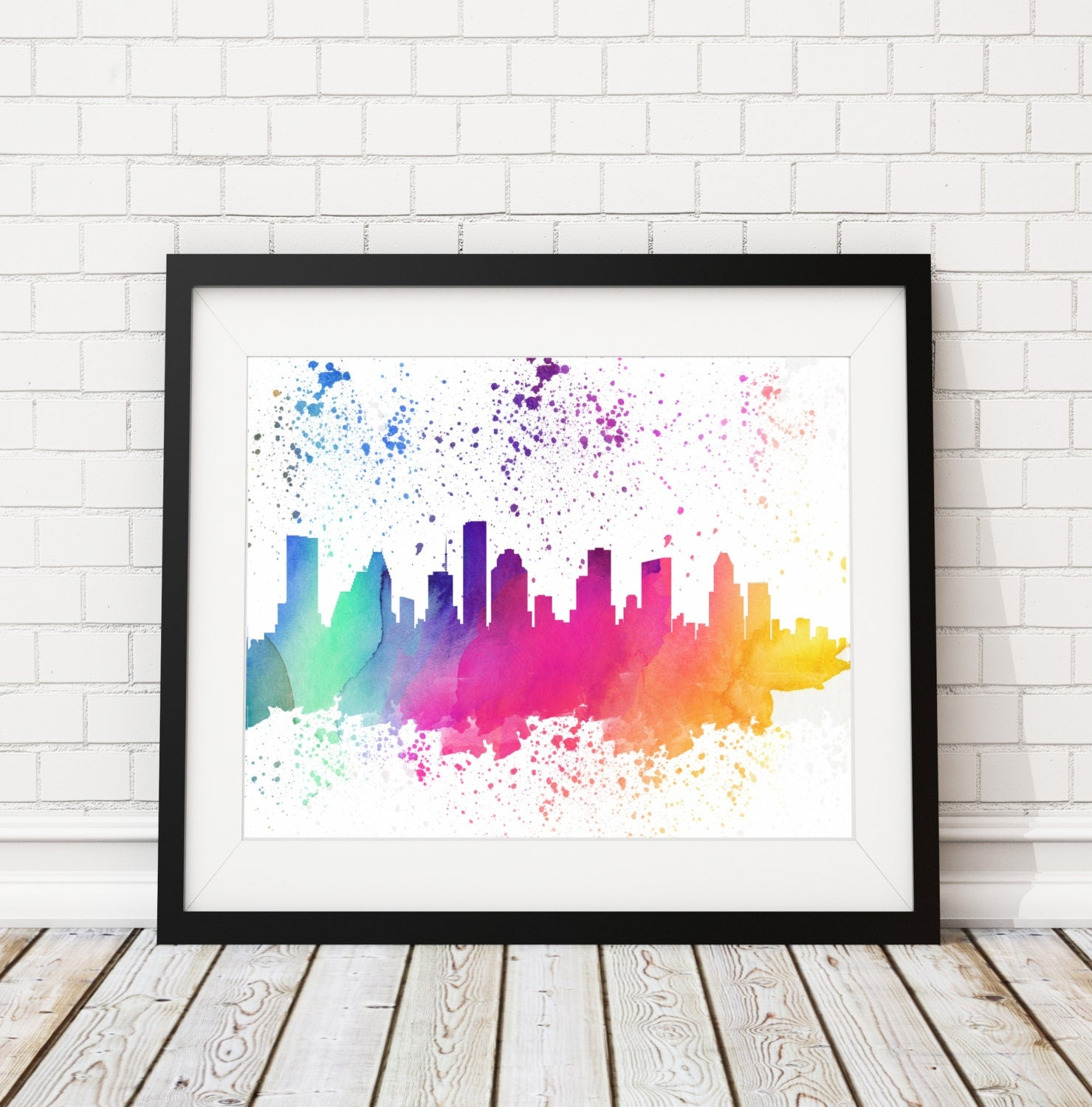 Watercolor art galleries in houston - Houston Skyline Watercolor Print Cityscape Print Houston Watercolor Art Houston Skyline Painting Watercolor Painting City Silhouette Art