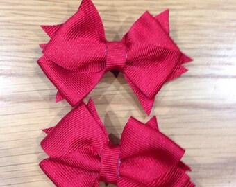 Mini hair bows set of 2