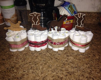 Western themed diaper centerpieces