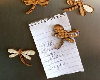 White Dragonfly Fridge Magnets - set of 4