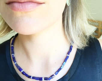 Lapis lazuli and rainbow moonstone necklace - 14k gold filled clasp