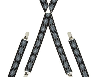 Argyle Grey and Black Skinny Braces