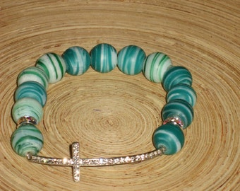 Teal Stretch Beaded Bracelet with Cross Charm