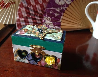 Flower and Butterfly Trinket Box