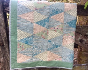 Baby Quilt Blue and Mint
