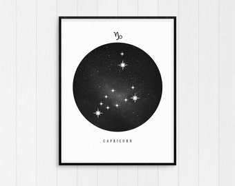 Capricorn Print, Capricorn Zodiac, Capricorn Art, Birthday Gift Capricorn Printable Capricorn Constellation Horoscope Decor Digital Download