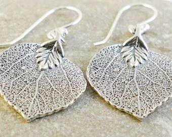 Sterling Silver Leaf Earrings Real Aspen Leaf Earrings Sterling Silver Leaves Earrings Dangle Leaf Earrings Free Shipping