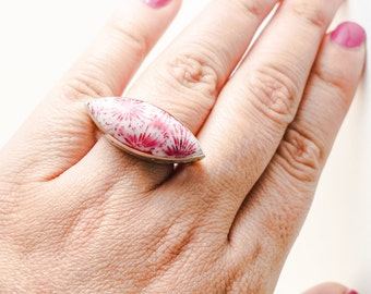 Pink Coral Ring Natural Pink Coral Ring Sterling silver 925 Statement Ring Boho Pink Coral Ring Boho Ring Handcrafted Ring Free Shipping