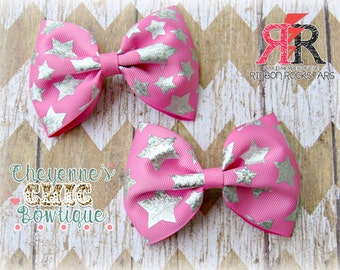 Pink stars Pigtail bows