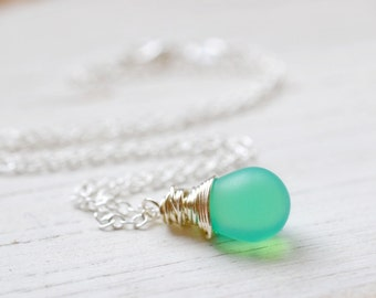 Glowing Seafoam Necklace, Boho Chic Jewelry, Wire Wrap Mint Drop Pendant, Spring Frosted Mint Green, Silver and Frosted Teal, Sea Foam