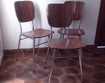 3 Brown formica chairs