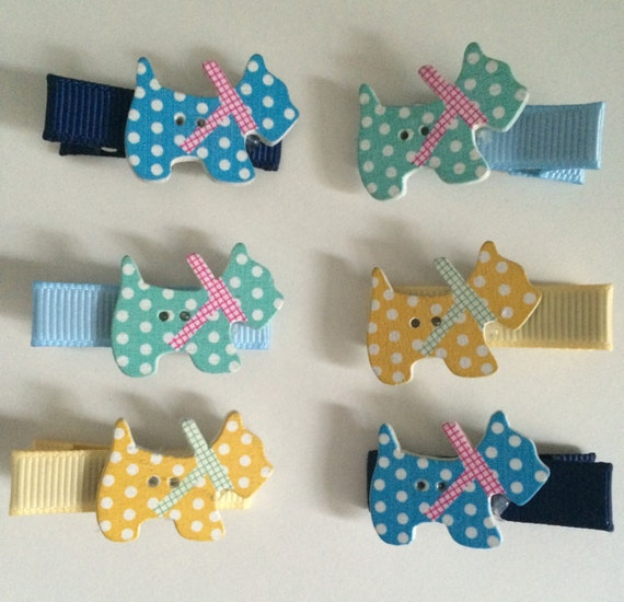 Wooden Scottie Dog Hair Slides - Set of Six Ribbon Covered Clips