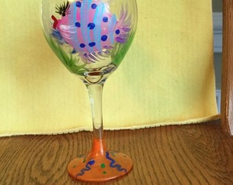 Wine glass fish blue and pink