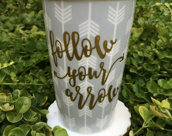 Ceramic Coffee Mug // Follow Your Arrow // Double Wall Tumbler // Tea // To Go // Lid // Gifts for Her // Ready to Ship