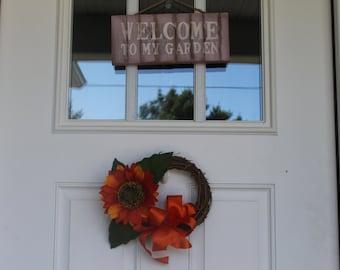 """8"""" Orange Sunflower Wreath"""